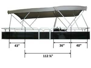 Details about Pontoon Double Bimini top 19' long, 96'' wide, 1 25'' alu  frame/hardware+zippers