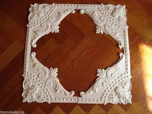 Stuckrosette-102-529a-Stuck-PerlenBarock-Rosette-aus-4-Eckdekoren-Wandspiegel