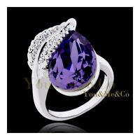 Huge 18k White Gold Ep 6.5ct Pear Cut Amethyst Crystal Cocktail Ring