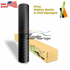 """*60""""x120"""" Premium 3D Carbon Fiber Matte Black Vinyl Wrap Sticker Bubble Free DIY"""