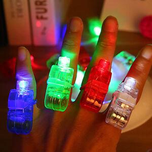 10-PZ-Finger-Light-Up-Anello-LASER-LED-Dance-BOMBONIERE-fasci-luminosi-Torcia-Set