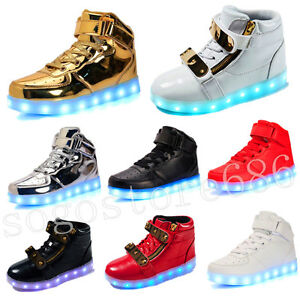 Details About New High Top Shoes Boys Girls Kids Led Light Up Shoes Luminous Sneakers Shoes