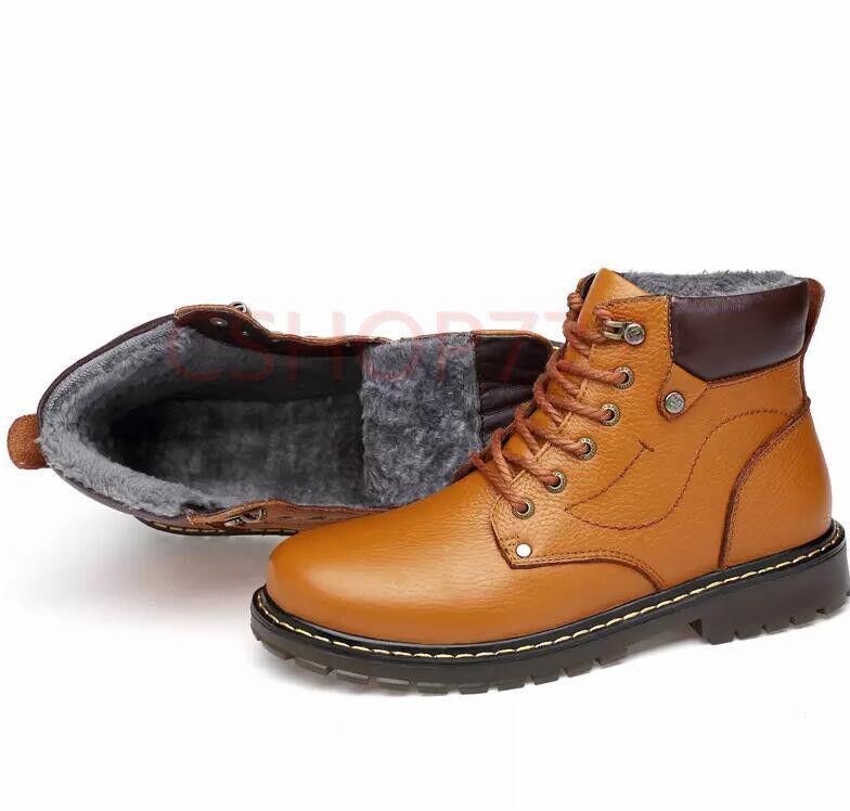 Uomini foderato inverno pivot merletto caviglia stivali di pelle foderato Uomini di pelliccia lavoro caldo scarpe grosse sz 920bad