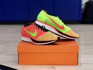 Nike-Flyknit-Racer-HYPER-Punch-Electric-Green-Pink-Orange-526628-603-Sz-12-5