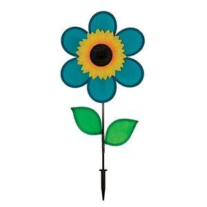 """In The Breeze SUNFLOWER SPINNER--12"""" Diameter TEAL FLOWER Spinner Garden Stake"""