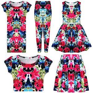 Girls Pink /& Blue Aztec Tribal Print Skater Skirt Midi Dress Crop Top Legging