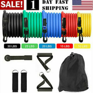 US-11-PCS-Resistance-Band-Set-Pilates-Abs-Exercise-Fitness-Tube-Workout-Bands