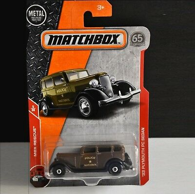 2018 issue NEW in BLISTER MATCHBOX #55 /'33 Plymouth Sedan Police Car