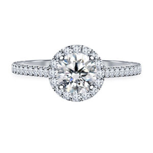 0.98 Ct Round Cut Real Moissanite Anniversary Ring 14K Solid White Gold Size 4
