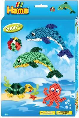 Boîte Hama midi 3435 dauphins et tortue 2000 perles + accessoires