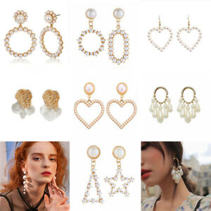 Boho-Women-Crystal-Pearl-Geometric-Statement-Drop-Earrings-Dangle-Wedding-Gifts