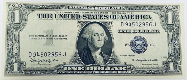 1935H $1 Silver Certificate Blue Seal Type 2