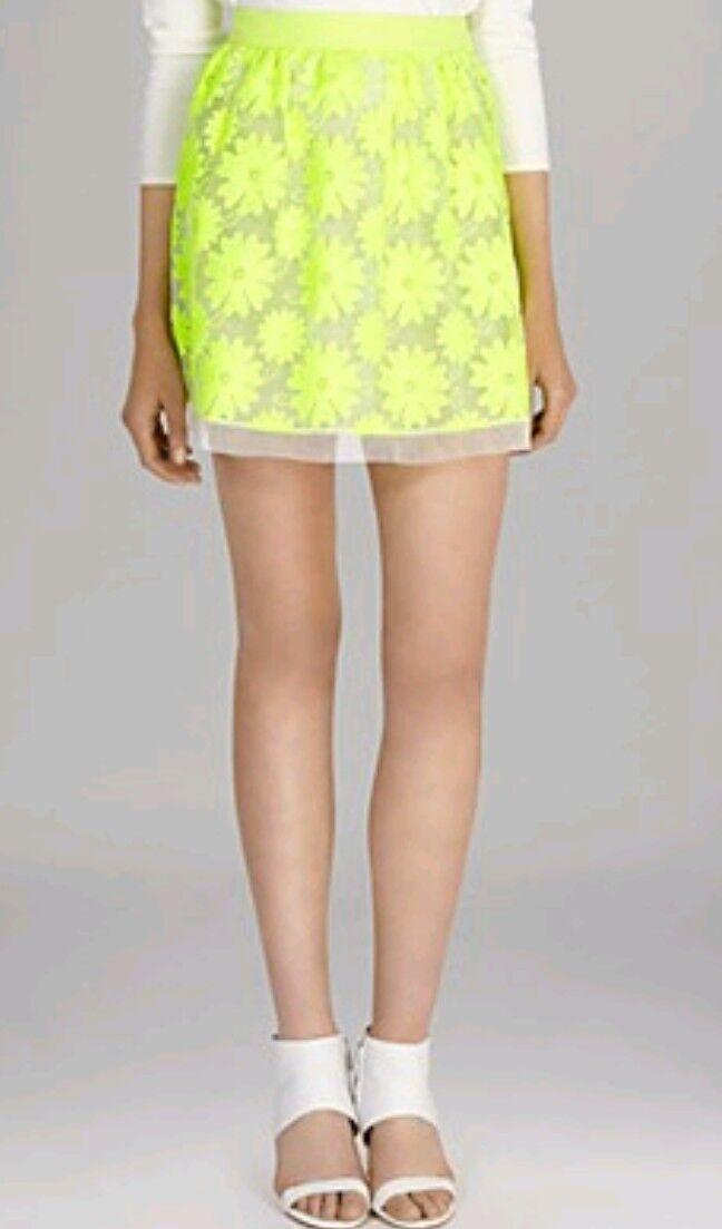 Designer KAREN MILLEN neon lace skirt size 8 --BRAND NEW-- floral organza