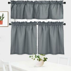 Nanan 3 Pieces Tier Curtains And Valance Set,waffle Weave