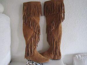 ce93a7bbb Sam Edelman Camel Suede Over Knee Uri Fringe Boots Moccasins Sz 6.5 ...