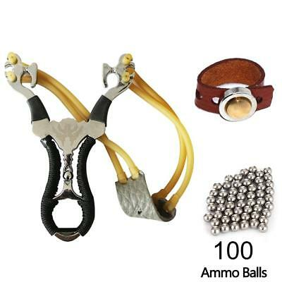 Hunting Stainless Steel Catapult Outdoor Slingshots+Magnetic Ring+8mm Ammo Bal