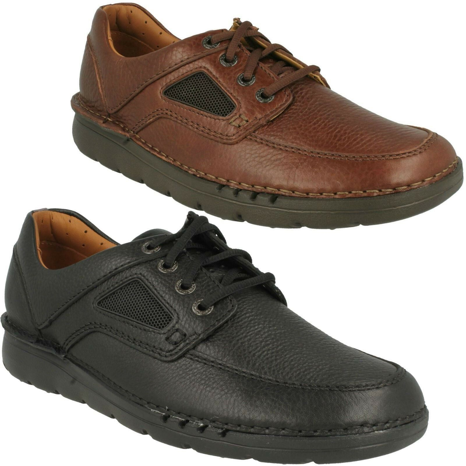 MENS CLARKS GRAIN LEATHER LACE UP UNSTRUCTURED EVERYDAY SHOES SIZE UNNATURE TIME