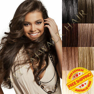 New-Clip-In-Remy-Human-Hair-Extensions-Full-Head-Extra-Thick-Black-Blonde-Brown