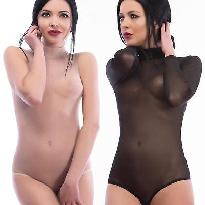 Bodys Brilliant Evoni Damenbody Transparent Tüll-bodysuit Sexy Langarm-body ärmellos Stringbody
