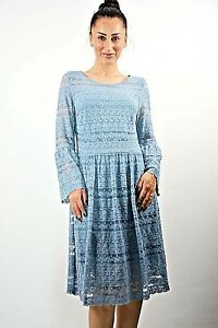 New-Womens-Ex-Yessica-Blue-Lace-Frill-Sleeve-Fit-amp-Flare-Midi-Dress-Size-6-8