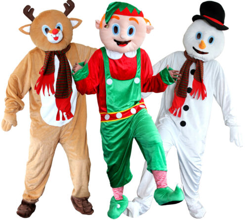 PACK OF 3 CHRISTMAS MASCOT COSTUMES REINDEER ELF SNOWMAN FANCY DRESS BIG HEAD