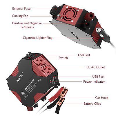 BESTEK 400W Watt Power Inverter DC 12V AC 110V Car Converter 4 USB ports Charger