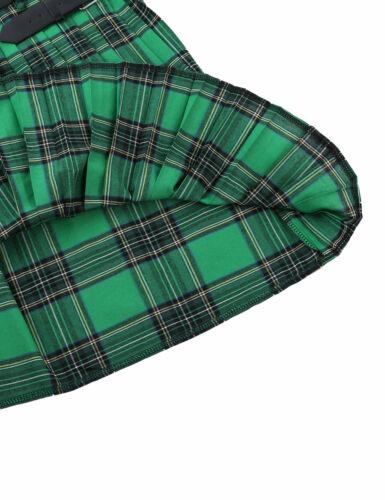 Mens Traditional Scottish Kilt Plaid Skirt Leather Pleated Split Wrap Costume