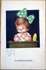 1920s Beatrice Mallet/Artist-Signed Postcard: Girl w/Hair Bow, Writting Letter