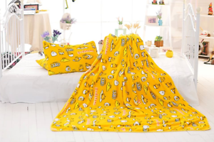 Gudetama yellow egg coral fleece blanket bed blankets pillowcover pillowcase