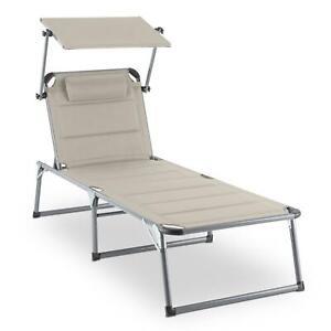 Détails sur [OCCASION] Transat chaise longue jardin dossier réglable  coussin pare-soleil bai