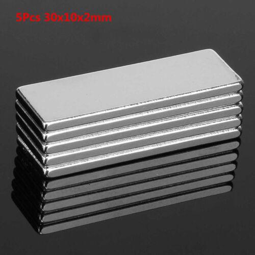 Sn /_ 5Pcs 30x10x2mm N35 Fort Rectangle Plaque Feuille Rare Terre Néodyme Magne