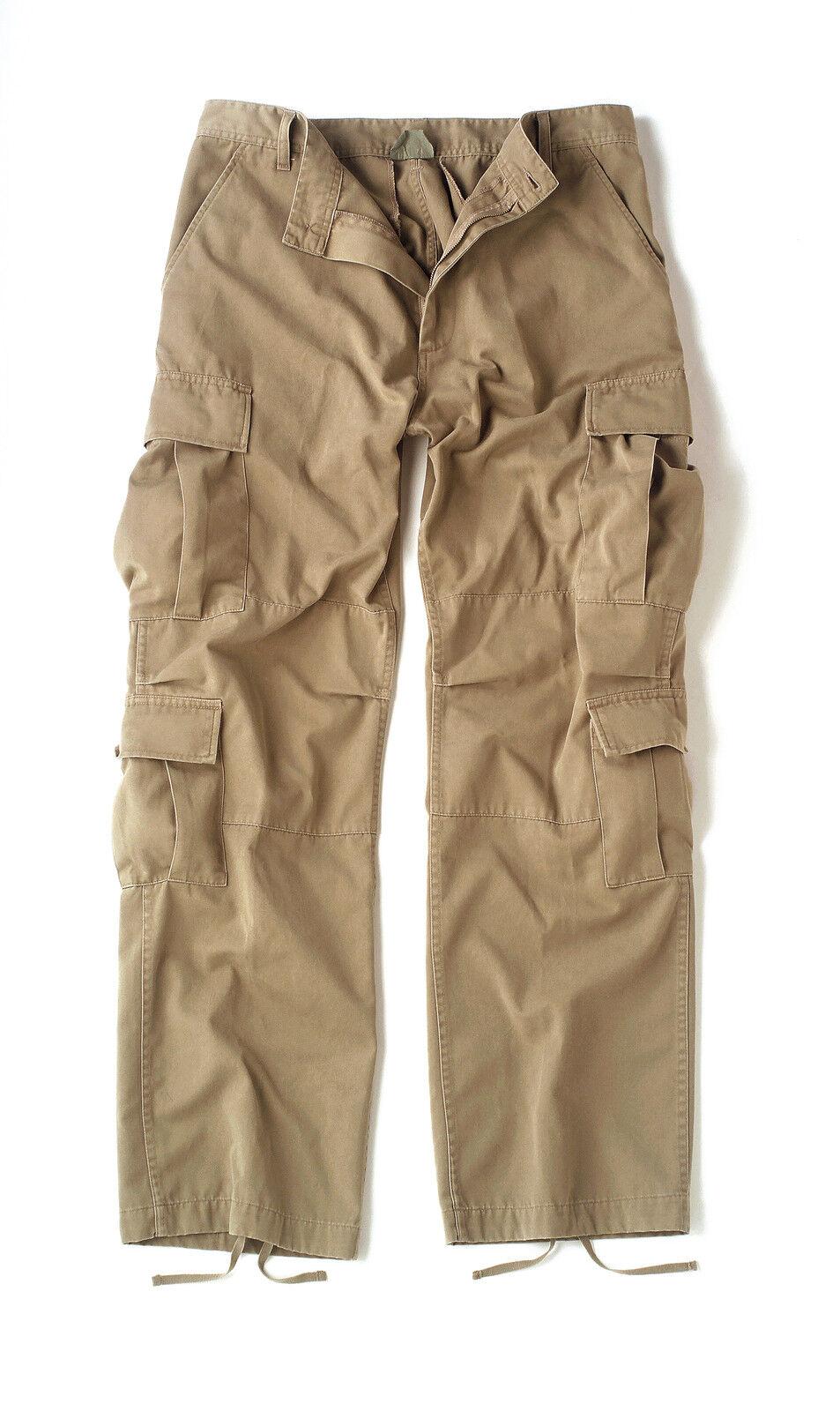 Vintage Khaki Paratrooper Cargo Pants BDU XS-3XL