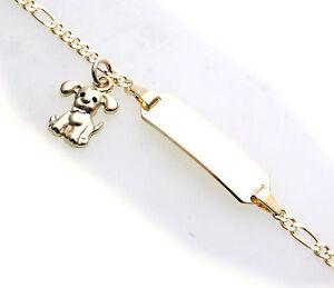 Armband-Kinder-14cm-echt-Gold-333-Hund-Figarokette-incl-Gravur-ID-Band-Gelbgold