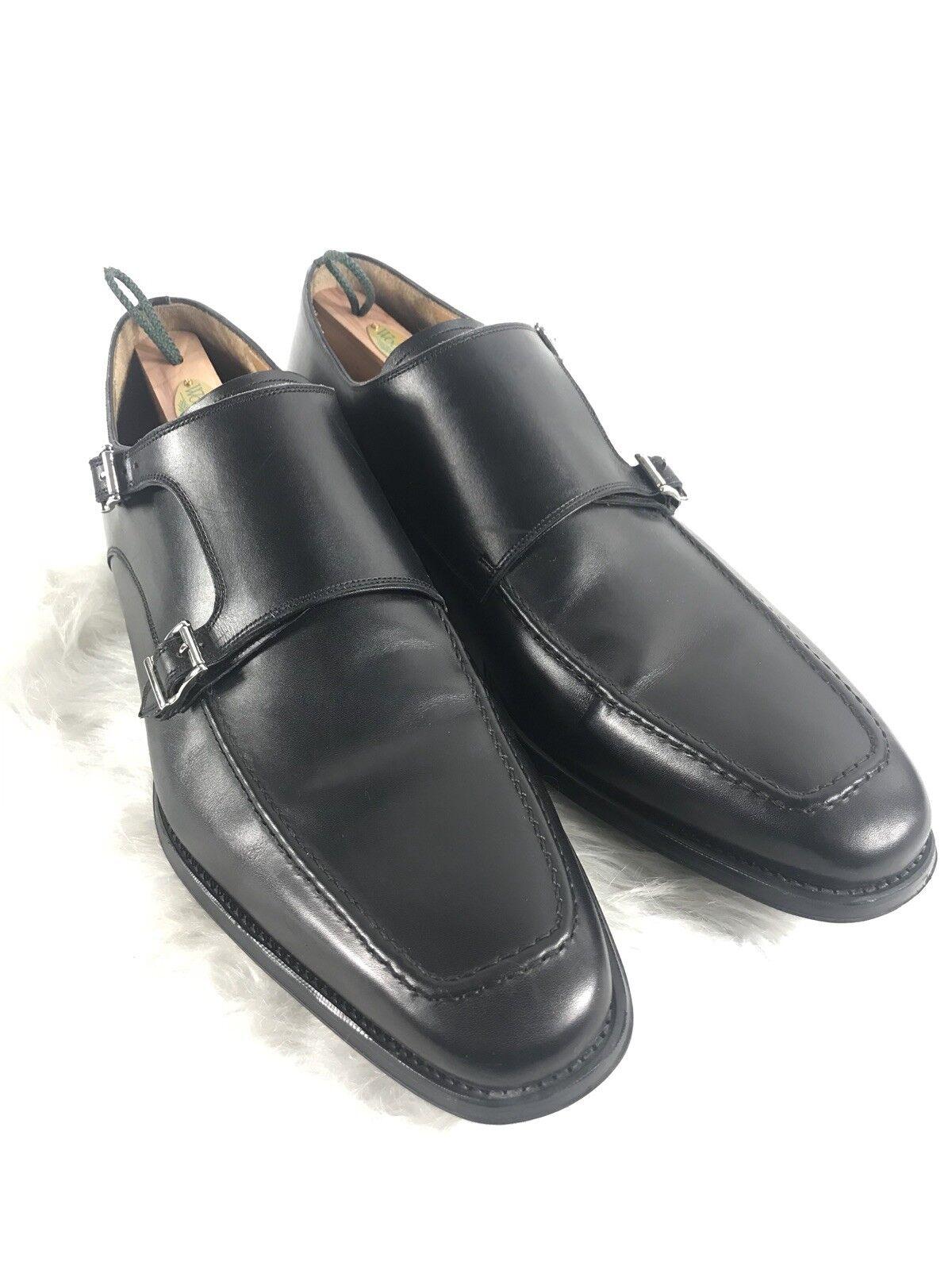 Magnanni Miro Men's Double Monk Strap Black Leather Loafer shoes Size 14
