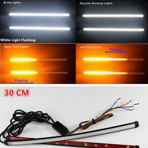 Universal-Switchback-que-fluye-DRL-LED-Tira-de-luz-estroboscopica-Flash-30-Cm-Blanco-ambar