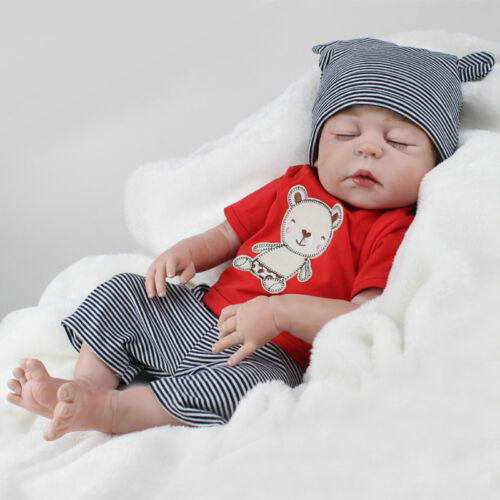 "22/"" Full Vinyl Sleeping Reborn Doll Boy Baby Realistic Nursery Training Toy Gift"