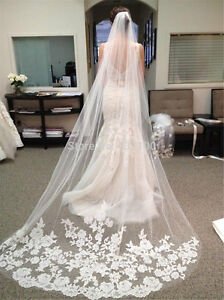 1-Layer-White-Cathedral-Length-Lace-Edge-Bride-Wedding-Bridal-Long-Veil-amp-Comb