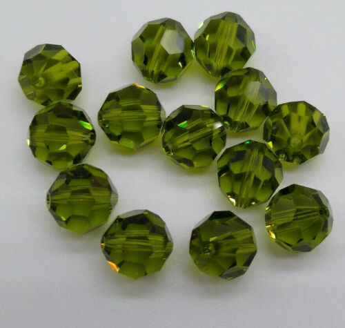 6pc Swarovski Crystal Olivine 8mm Faceted Round 5000 Beads; Olive Green