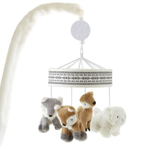 Levtex Baby Bailey Taupe and Grey Woodland Themed Musical Mobile NEW IN BOX