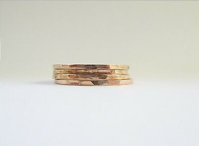 Rose Gold Filled FineRing Fine Handmade Simple Thin Stack Ring Hammered 18 GA
