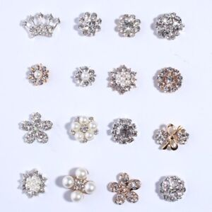 1f6a35752 Image is loading 50PCS-Crystal-Rhinestone-Buttons-With-Ivory-Pearls-For-