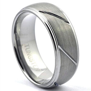 Image Is Loading Tungsten Carbide Ring Multi Grooves Domed Style Mens