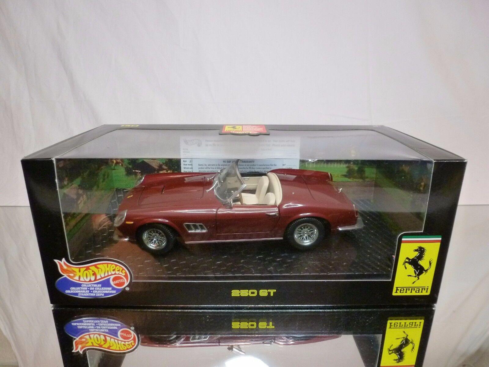 HOT WHEELS 25727 FERRARI 250 GT - DARK RED 1 18 - EXCELLENT IN BOX