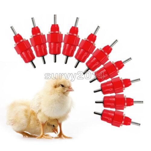 10PCS Poultry Water Drinking Nipples Duck Chicken Hen Feeding Screw In Drinker