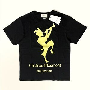 fe3a84ca7 Gucci Black Yellow Women's Oversized Chateau Marmont Cotton T-Shirt ...