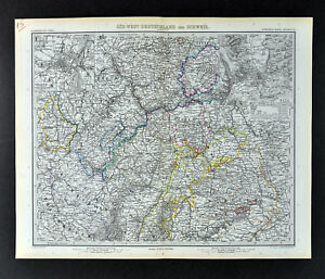 1892 Stieler Map Germany Strassburg Metz Frankfurt Coblenz Speyer