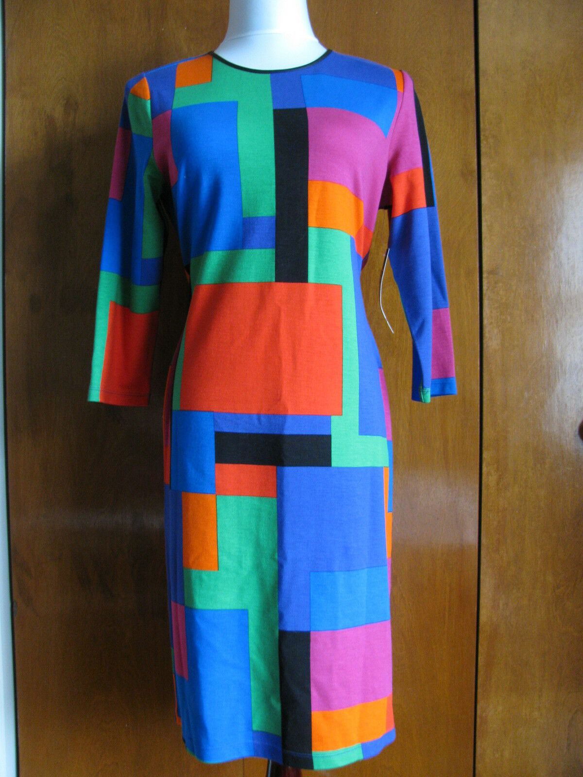 Ralph Lauren damen's MulticolGoldt Viscose Crewneck Long Sleeves Dress Sz PLarge