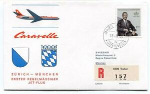 100% De Qualité Ffc 1966 Caravelle Swissair First Flight Zurich Munchen Registered Liechtenstein