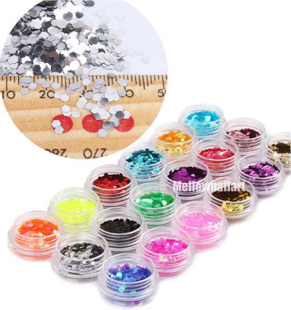 18 Colors 2mm Hexagon Glitter Sequins Powder Nail Art Acrylic 3D Decoration Set