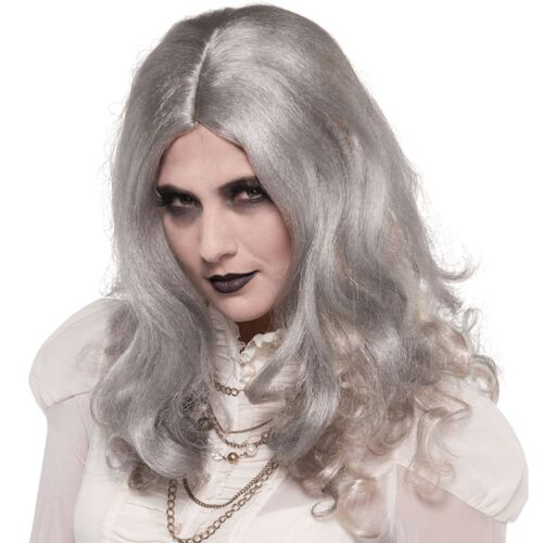 Ladies Grey Silver Zombie Wig with Curls Dead Halloween Walking Creepy Blood